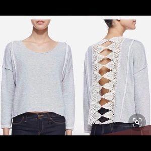 Free People open lace back sweatshirt